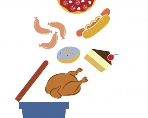 Illustration devoted to a ban of harmful foods.