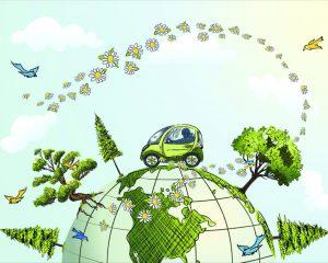 Fuel efficient car for a green planet.. Global Conservation Concept illustration.