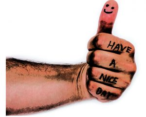 Happy face on finger and have a nice day