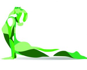 Trendy stylized illustration movement, yoga poses, young woman practicing asanas, line vector silhouette.