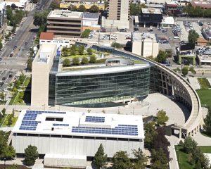 Salt Lake City Utaha aerial of modern Library